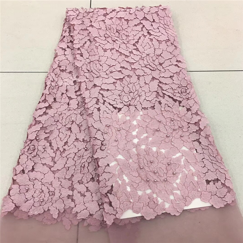 2018 French Lace Fabric White Wedding High Quality African Tulle Lace Fabric 5Yard 3D Flowers Embroidered Tulle Lace fabric1757B