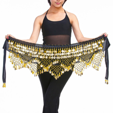 11 kolor aksamitny egipski taniec brzucha monety pasy dla kobiet klasyczny brzuch kostium taneczny akcesoria chusta na biodra Bellydance