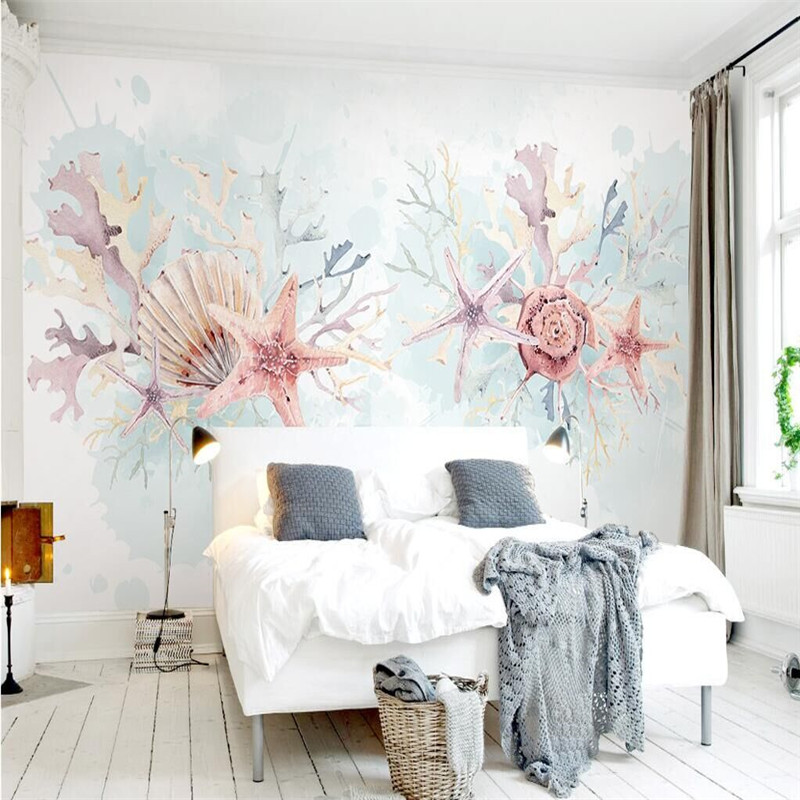 Fresh Starfish Coral Seashells Hand-painted Watercolor Mediterranean TV Wall Specializing In The Production Of Wallpaper Mural C
