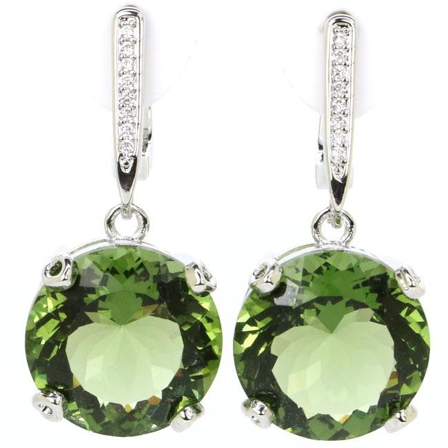 Classic Big Gemstone Round 15x15mm Green Amethyst CZ Woman's 925 Silver Earrings 30x15mm