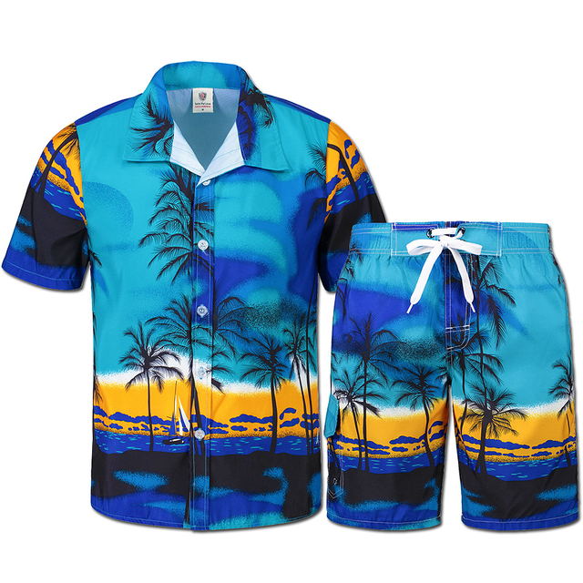 ba042269a5b Palm printing Hawaii style men s casual suit Men s beach party costumes  Fast drying clothes Men s Bermuda garment (shirt+shorts)