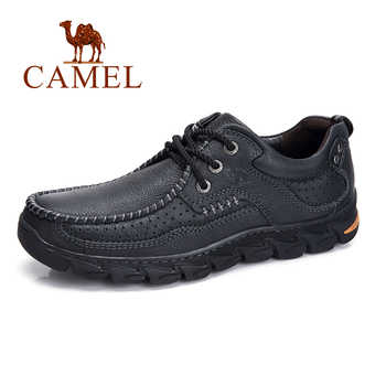 CAMEL Autumn New Genuine Leather Outdoor Casual Men Shoes Men\'s Non-slip Tide Work Cow Leather Shoes Man Lace-up Flats - Category 🛒 Shoes