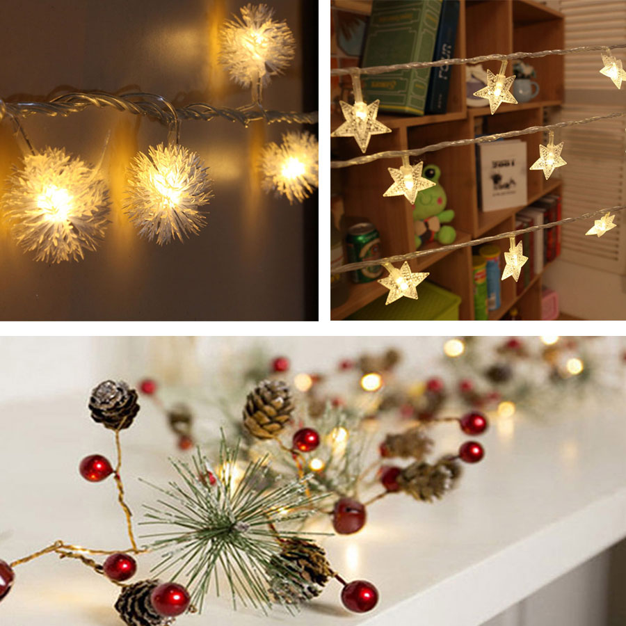 2-3m LED Christmas String Light Snowball Pine Cone Star Fairy Light Holiday Wedding Room Garland Decoration Battery String Lamp