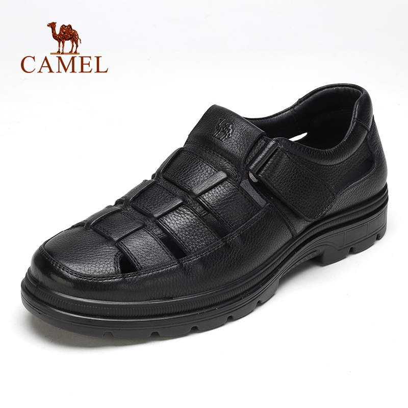 CAMEL Men's Shoes Hollow Breathable Men Sandals Casual Cushioning Genuine Leather Middle-aged Flexible Cowhide Father Shoes