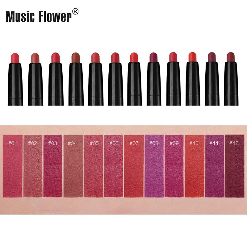 Music Flower 12 Glamorous Colors Matte Қарындаш Ерін - Макияж - фото 5