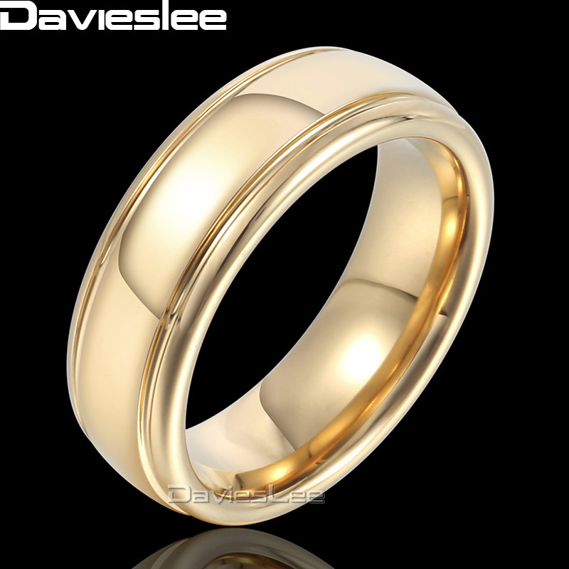 Davieslee Polished Band Ring Mens Boys Wedding Engagement Tungsten Carbide Gold-color 6mm DTR07