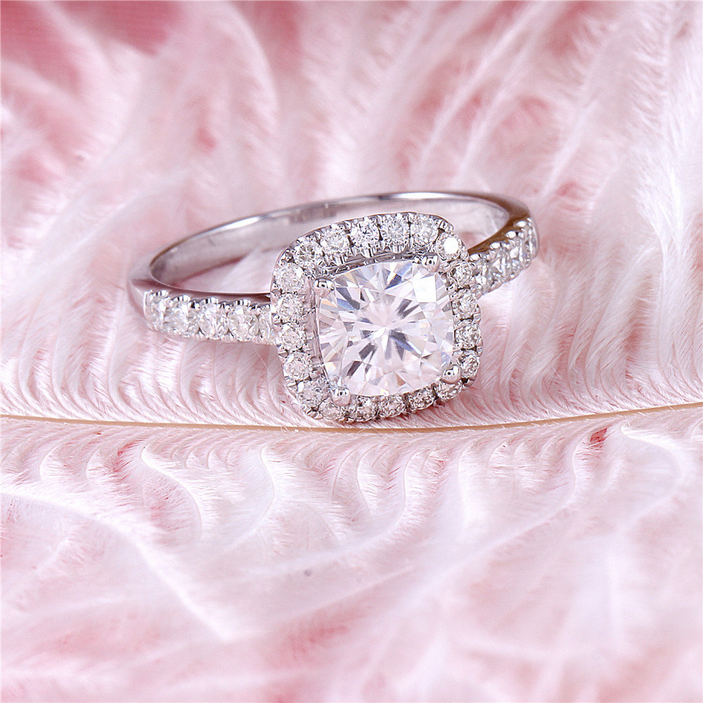 Image 3 - DovEggs 10K White Gold 1.4CTW 6*6mm F/GH Color Cushion Cut Moissanite Halo Engagement Ring with Accents for WomenRings   -