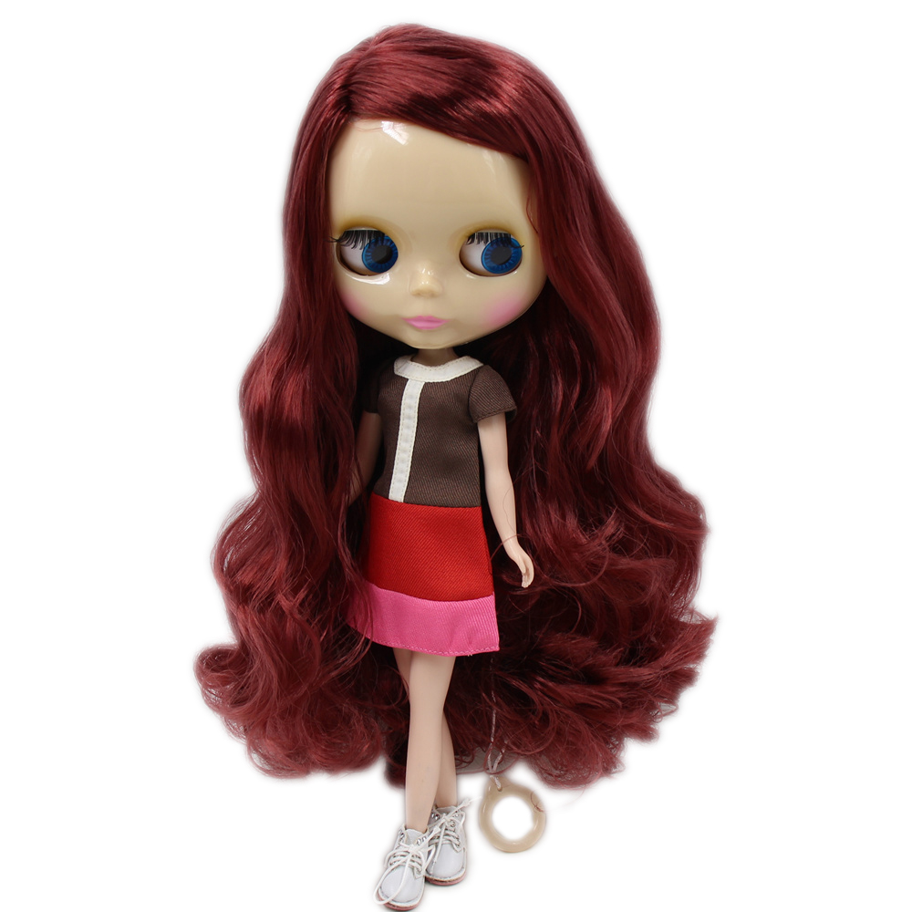 Dolls Fortune Days Nude Blyth Doll No.300bl0362 Red Brown Hair With Bangs Joint Body Chocolate Skin Factory Blyth