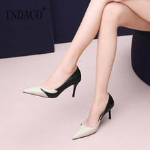High Heels Shoes Woman Leather Pumps Women Fashion Sexy 2019 7.5cm
