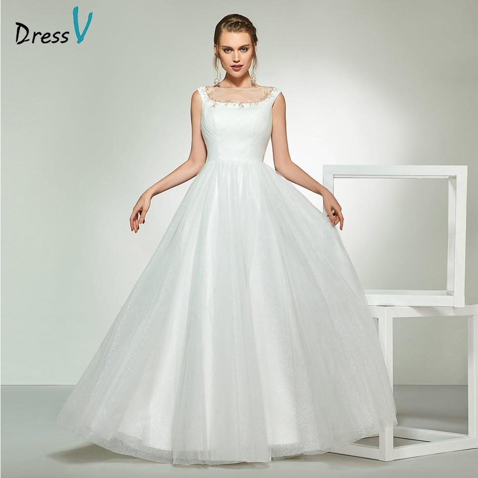 A Line Simple Wedding Dresses: Dressv Elegant Ivory Sleeveless Scoop Neck Beading Wedding