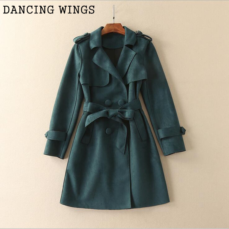 British style women's suede trench coat fashion lapel long sleeve loose double breasted coat casual windbreaker