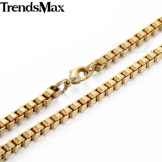 Trendsmax 4MM Gold Filled GF Necklace MENS Boys Chain High Quality Box Chain Customized Fashion Wholesale Jewelry Gift GN38