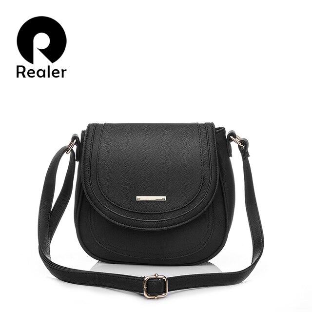 fa6eacc11c80 REALER women messenger bags PU leather crossbody bag for women fashion  designers new arrivals ladies shoulder bags black brown