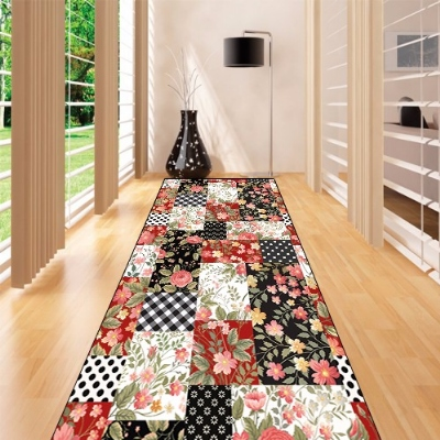 Else Pacthwork Black Red Vintage Roses 3d Print Non Slip Microfiber Washable Long Runner Mats Floor Mat Rugs Hallway Carpets