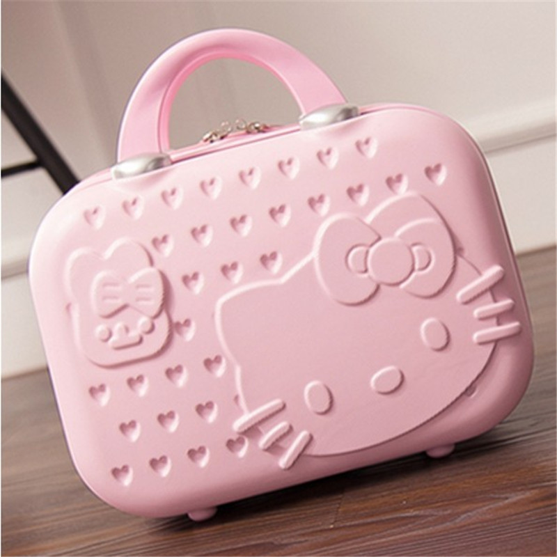 Hot fashion 3 D waterproof cute cartoon cosmetic case 14 <font><b>inch</b></font> cartoon suitcase small suitcase Quality travel handcuffs suitcase image