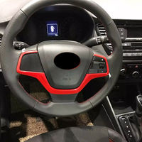 Red Car Interior Steering Wheel Button Cover Trim for Hyundai Accent Solaris 2018 Car Styling