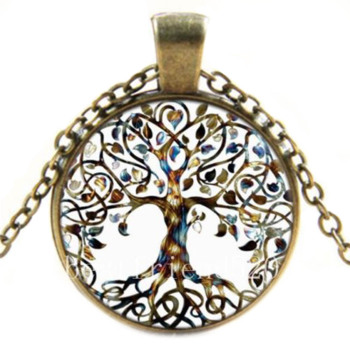 Charms Tree of Life Glass Statement Necklace & Pendant