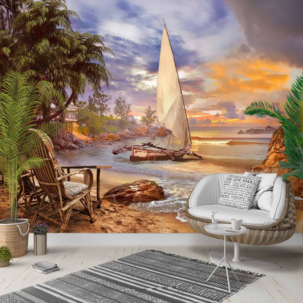 Else Blue Sky Green Palm Beach Sand Sea Side 3d Photo Cleanable Fabric Mural Home Decor Living Room Bedroom Background Wallpaper