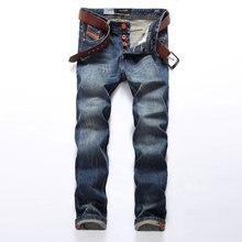 Gorąca sprzedaż modne dżinsy męskie marki prosty krój porwane jeansy włoski projektant 100% bawełna znajdujących się w trudnej sytuacji dżinsy Homme