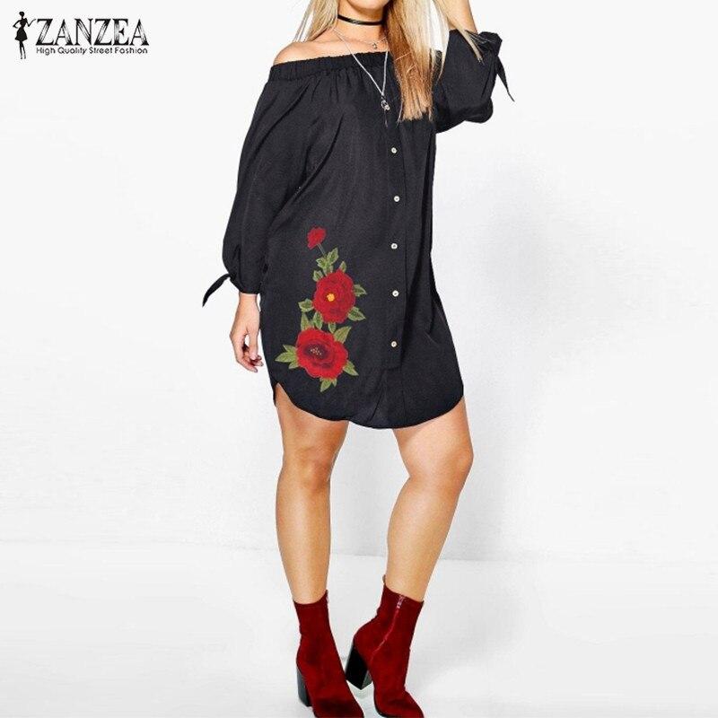 ZANZEA Femei Rochie 2019 Toamna Sexy Off Rochii Mini Rochii Vintage - Îmbrăcăminte femei