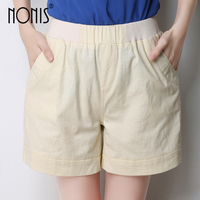 Nonis New Arrival 2017 Summer Five Candy Color Women Shorts Pocket Soft Linen Elastic Waist Ladies