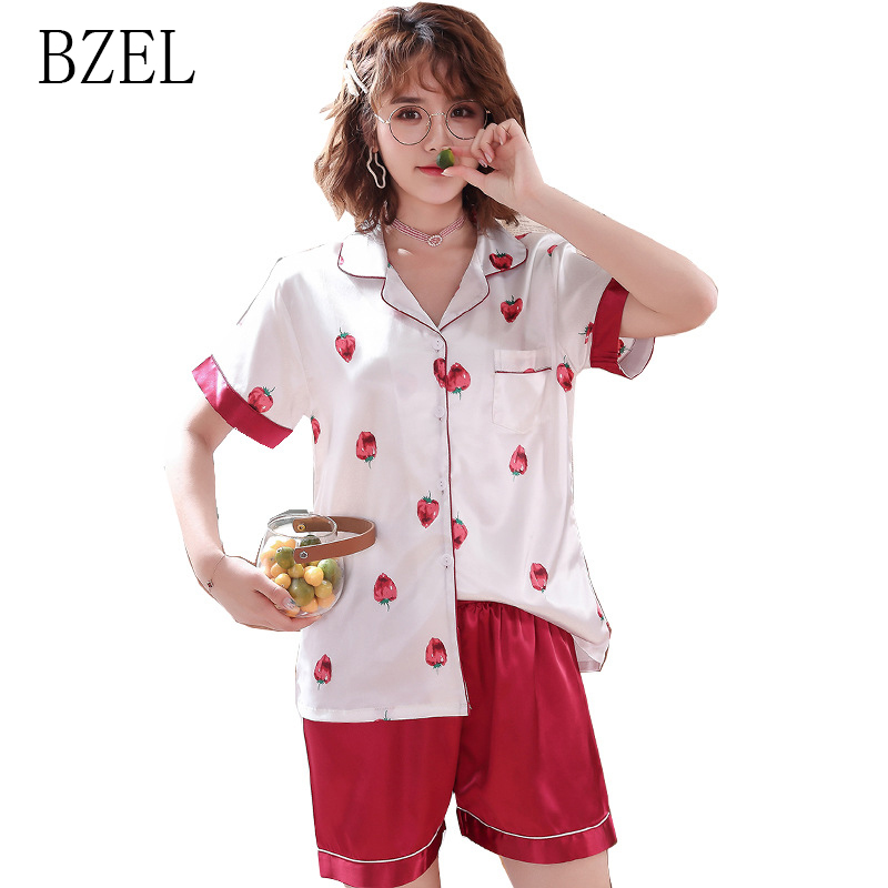 BZEL Summer Ladies Pajama Set Turn Round Cute Satin Sleepwear Kawaii Cartoon Strawberry Pattern Nightwear Stylish Two Piece Sets