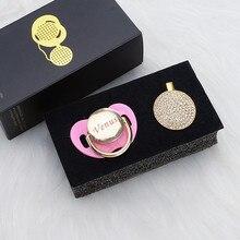 MIYOCAR Personalizzato qualsiasi nome può fare tutti i oro bling ciuccio e clip di ciuccio BPA libero dummy bling design unico PB