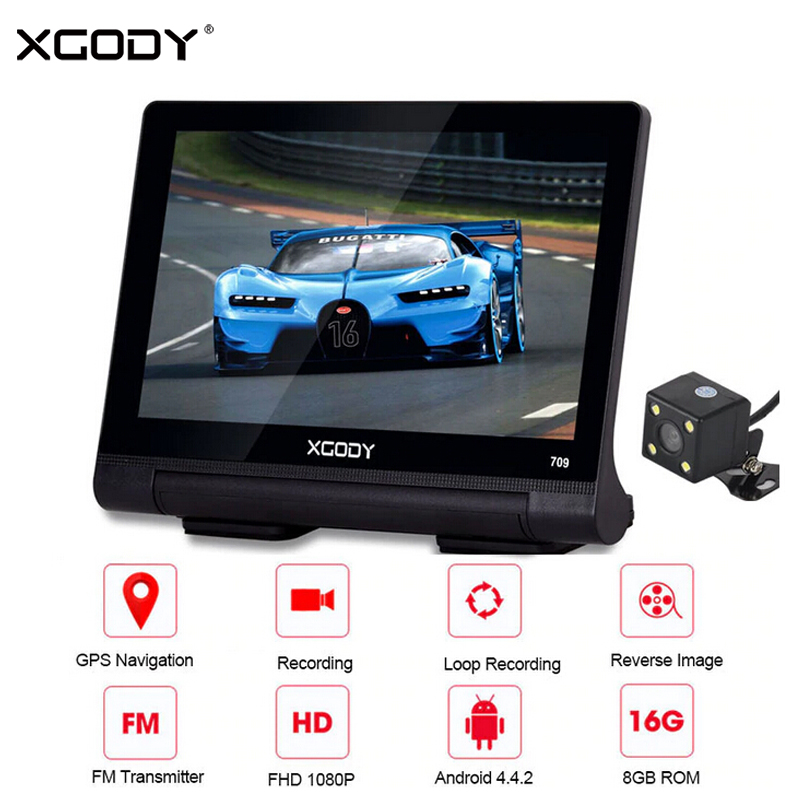 XGODY 7 Car DVR GPS Navigation Android 8GB Bluetooth WiFi 1080P Dash Camera Video Recorder Dashcam Vehicle GPS Auto NavigatorXGODY 7 Car DVR GPS Navigation Android 8GB Bluetooth WiFi 1080P Dash Camera Video Recorder Dashcam Vehicle GPS Auto Navigator