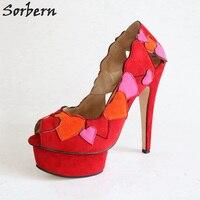 Sorbern красный Сращивание сердце Лодочки с открытым большим пальцем Для женщин слипоны большой Размеры женская обувь 44 на толстой подошве пол