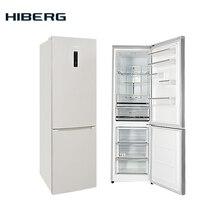 Холодильник 195см высотой, с системой No Frost, HIBERG RFC-372DX NFW, 372л, А+, 2 года гарантии, зона свежести, LED освещение и дисплей