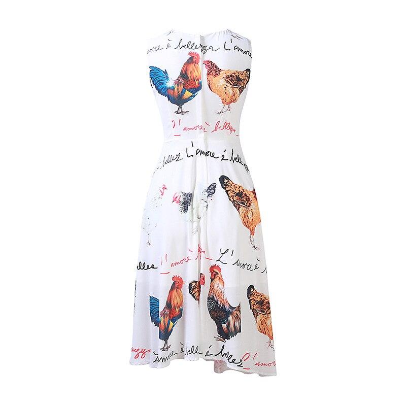 Blanc Imprimer Célébrité Et Poule Robes Designer De Robe Cock 92701 As Milan Femmes 2018 Lettre Shown Imprimé Automne Piste qwtngp