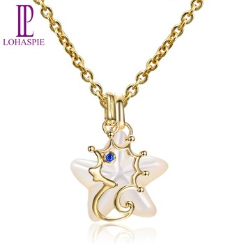 LP Ocean Party Natural Sapphire Pendant Solid 9k Yellow Gold Mother of Pearl Sea Horse Fine Pearl Stone Jewelry Women Gift