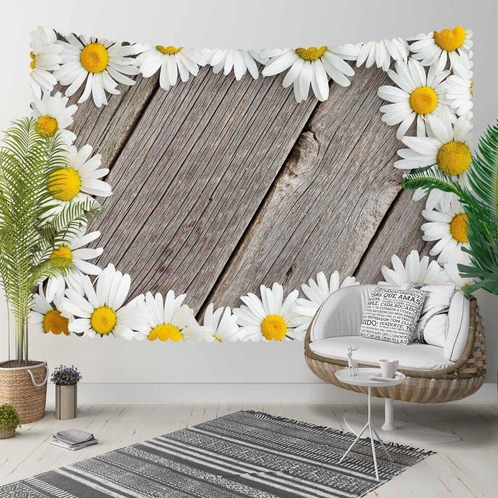 Autre arbre gris bois sur blanc jaune marguerite fleurs impression 3D décoratif Hippi bohème tenture murale paysage tapisserie mur Art