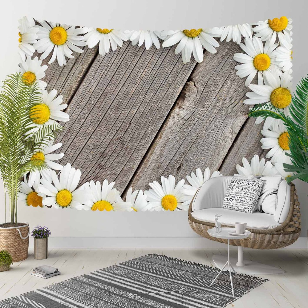 Else Gray Tree Wood On White Yellow Daisy Flowers 3D Print Decorative Hippi Bohemian Wall Hanging Landscape Tapestry Wall Art