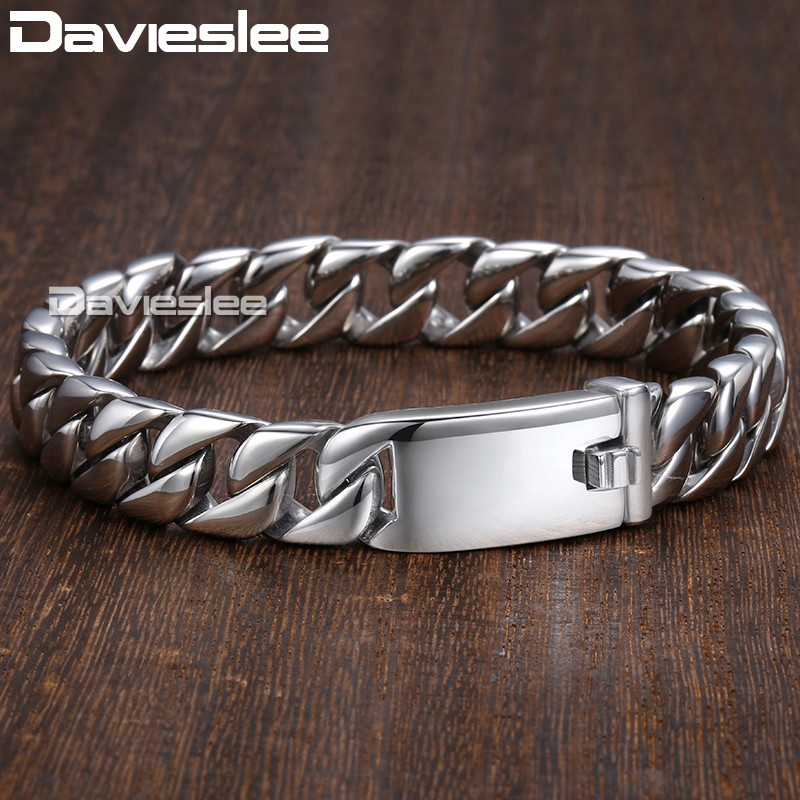 Davieslee Mens Bracelet Chain Curb Link 316L Stainless Steel Bracelets for Men Silver Gold Color Never Faded 11mm 20cm DLHB139 25mm mens chain boys big curb link gunmetal tone 316l stainless steel bracelet charm bracelets for women