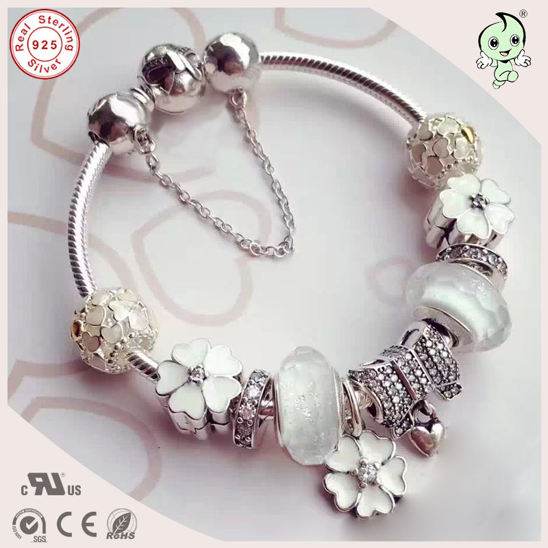 New Arrival 925 Sterling Silver Bowknot Clasp Bracelet With White Series Different Design Silver CharmsNew Arrival 925 Sterling Silver Bowknot Clasp Bracelet With White Series Different Design Silver Charms
