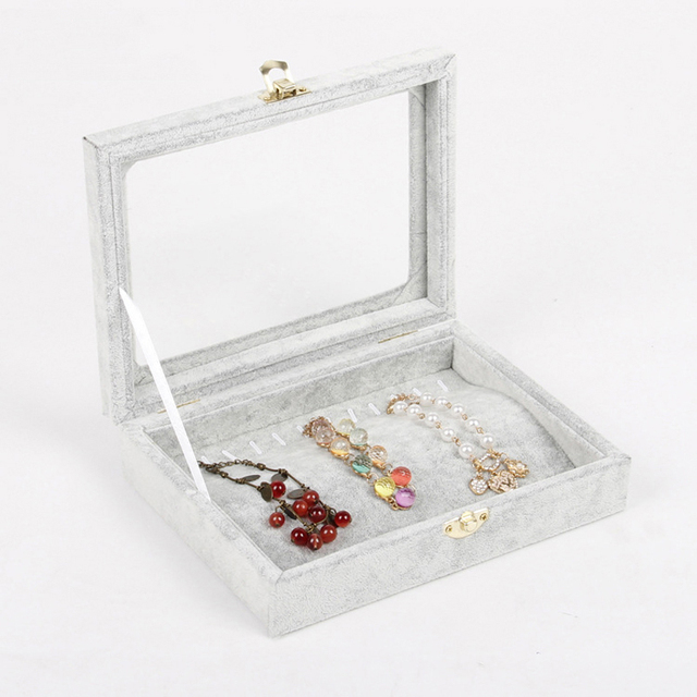 High Quality Jewelry Storage Box Ring Earring Case Necklace Pendants Display Makeup Tools Organizer