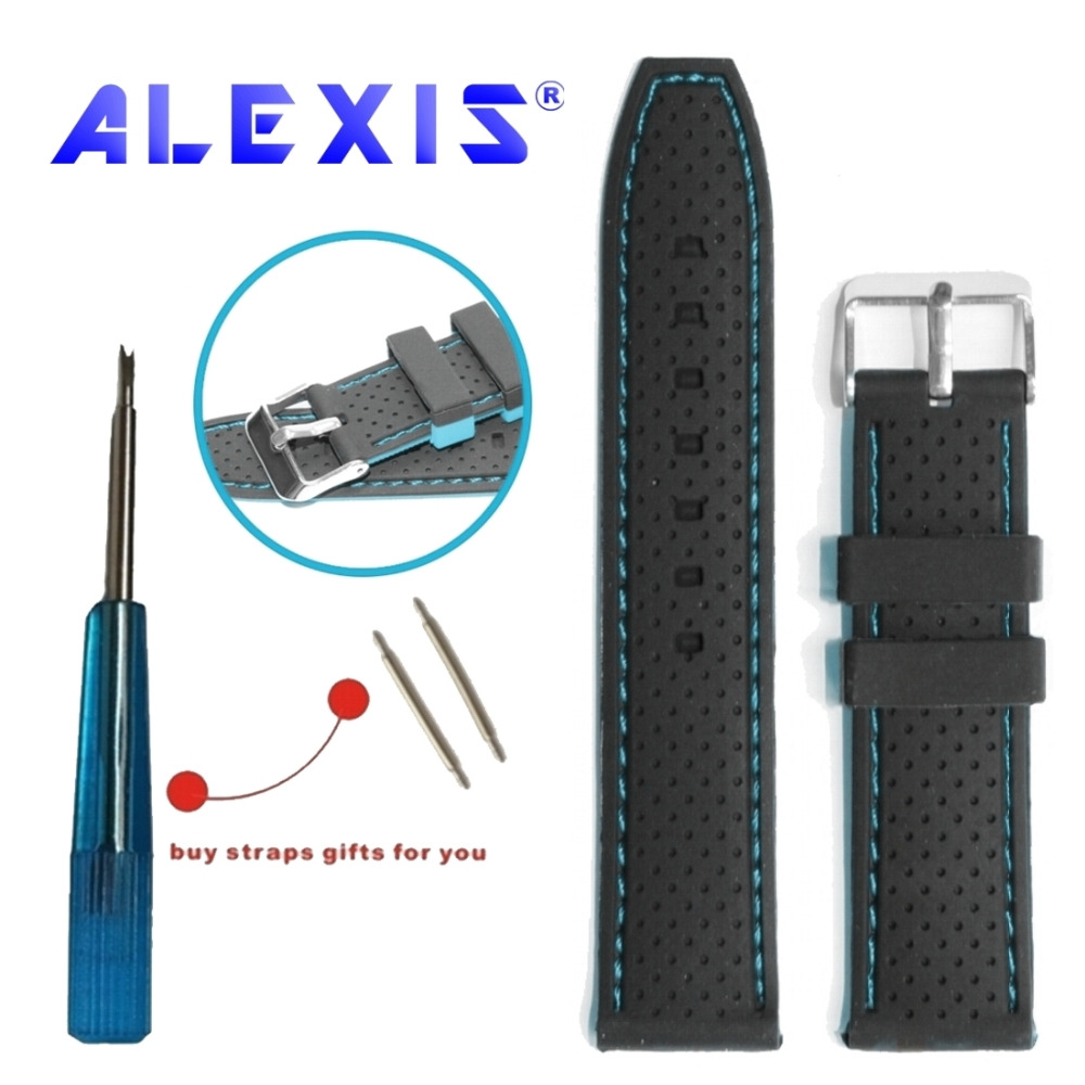 22mm For Replacement Watches Black With Blue Silicone Jelly Unisex Watch Band Straps WB1047F22JB