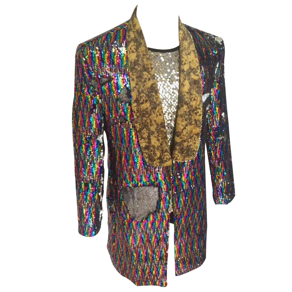 HCF by Air Mens 1 Piece Printed Flannel Lapel Long Pattern Colors Costumer Jacket With Shiny Sequins For Any Party - 2
