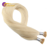 Moresoo Pre Bonded I Tip Human Hair Extensions Bleach Blonde Color #613 Keratin Tipped 100% Real Remy Hair 1g/s 50strands/pack