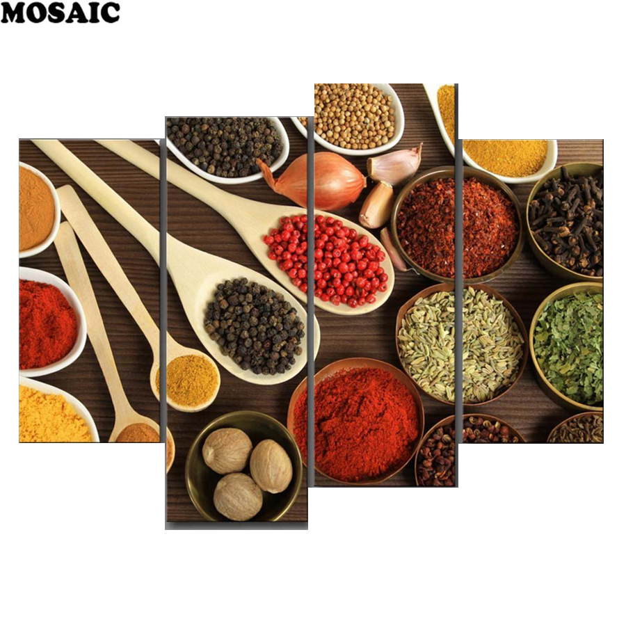 3d diamond painting Colourful Spice Gather In Table Granulate 4 Pieces/Set Wall Art Painting Picture For Kitchen Decoration