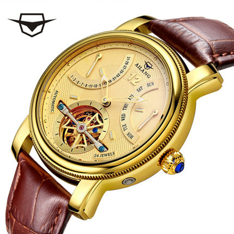 2017 Luxury Brand Automatic Man AILANG Watch Waterproof Watches Men's Casual Fashion Calendar Leather Gold Watch Clock Male real amount of ceramic fashion set auger waterproof quality precision rotary calendar watch brand man woman a good watch