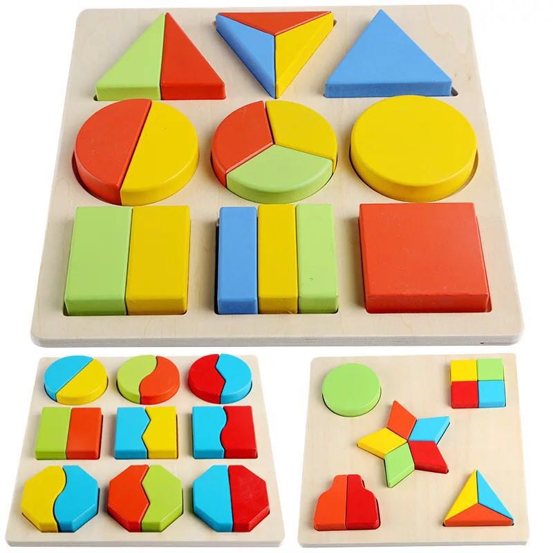 Baby Toys 20cm Montessori Wooden Colorful Geometry Shape Cognition Puzzle Board Toys For Kids Early Learning Education 3D Puzzle
