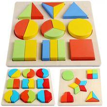 Детские игрушки 20 см Деревянные Монтессори красочная геометрическая форма Развивающий Пазл доска игрушки для детей раннего обучения Образование 3D головоломка
