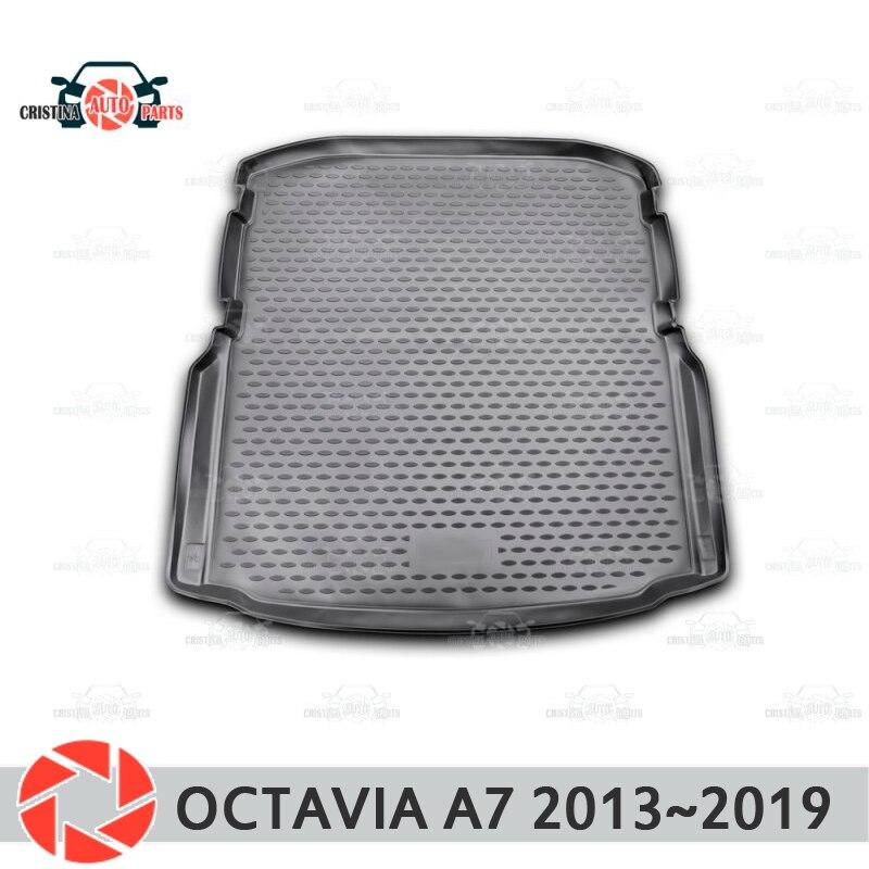 Stuoia del tronco per Skoda Octavia A7 2013 ~ 2019 tronco piano tappeti antiscivolo poliuretano sporco di protezione del tronco interno auto styling