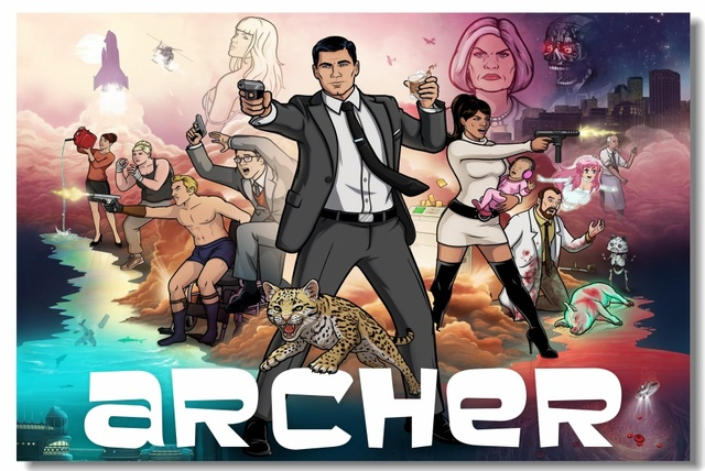 Custom Canvas Wall Paintings TV Show Archer Poster Archer Wallpaper Lana Kane Sticker Office Mural Bar Bedroom Decoration #0170#