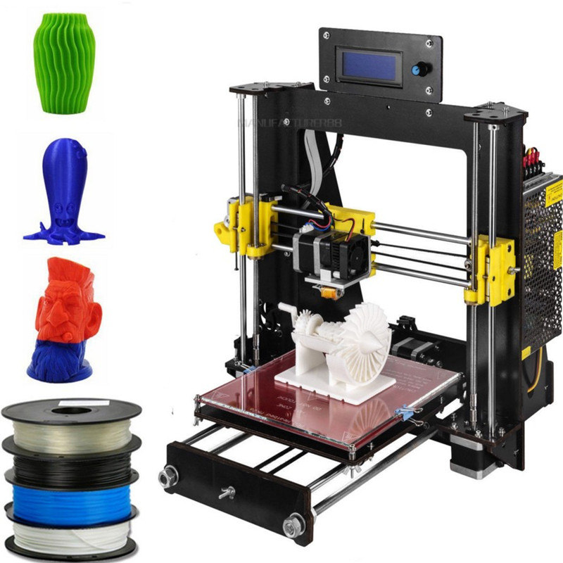 цена на 2018 Upgraded Full Quality High Precision Reprap Prusa i3 DIY 3D Printer MK8 LCD