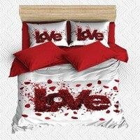 Sonst 6 Stück Weiße Blume Liebe Writen Rose Blätter 3D Druck Baumwolle Satin Doppel Bettbezug Bettwäsche Set Kissen Fall bett Blatt-in Bettbezug aus Heim und Garten bei