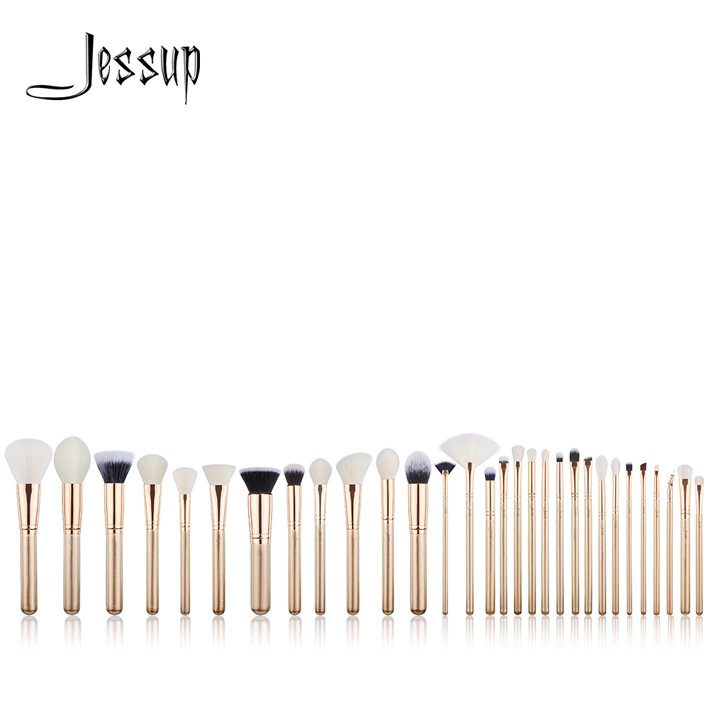 Jessup brushes 30PCS Golden/ Rose Gold Professional Makeup brushes set Beauty tools Make up brush POWDER FOUNDATION EYESHADOW jessup rose gold black professional makeup brushes set make up brush tools kit foundation powder brushes natural synthetic hair
