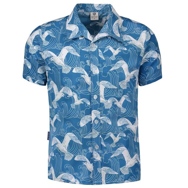 4185679b986a Mens Hawaiian Shirt Male Casual camisa masculina Printed Beach Shirts Short  Sleeve brand clothing Free Shipping Asian Size M-5XL